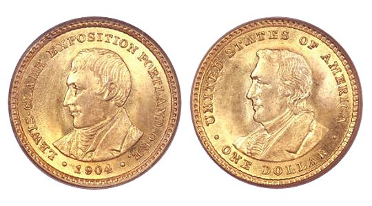 1904 05 LewisClarkExposition GoldDollar 1904 05 Lewis & Clark Exposition Gold Dollar