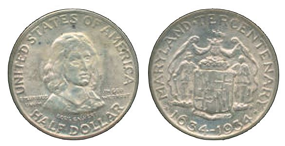 1934 MarylandTercentenary HalfDollar 1934 Maryland Tercentenary Half Dollar
