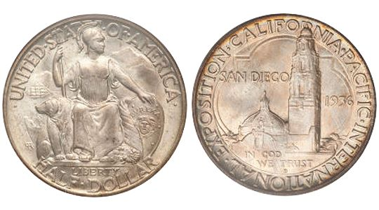 1935 36 California PacificExpositionSanDiego HalfDollar 1935 36 California Pacific Exposition 'San Diego' Half Dollar