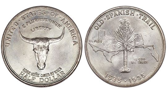 1935 OldSpanishTrailMemorial HalfDollar 1935 Old Spanish Trail Memorial Half Dollar