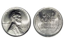 Small Cents – Lincoln Cent, Steel, Wheat Ears Reverse, 1943