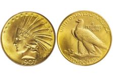 Eagles – Indian Head Eagle, No Motto, 1907-1908