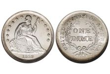 Dimes – Liberty Seated Dime, Stars, No Drapery, 1838-1840
