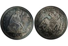 Quarters – Liberty Seated Quarter, No Motto, Drapery, 1840-1865