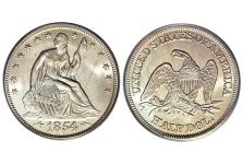 Half Dollars – Liberty Seated Half Dollar, Arrows at Date, 1854-1855