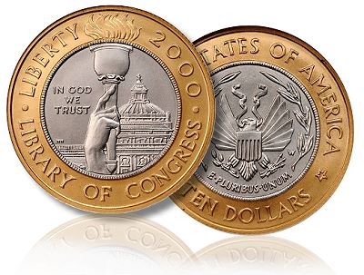 Coin Profile: 2000-W Library of Congress Bicentennial Bimetallic Coins