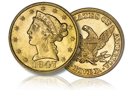 1847 5 dw Some of My Favorite Obscure United States Gold Coins: Part Two