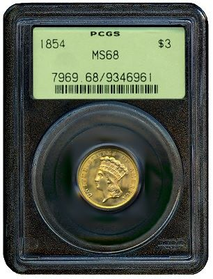 1854 4 pcgs68 Some of My Favorite Obscure United States Gold Coins: Part One