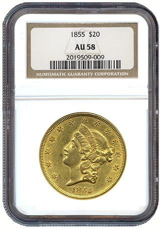 1855 20 ngc58 How to Price AU58 Gold Coins