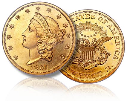 1860 pr 20.00 fun2011 Coin Rarities & Related Topics: Fresh & Original Proof Gold Powers Platinum Night Auction