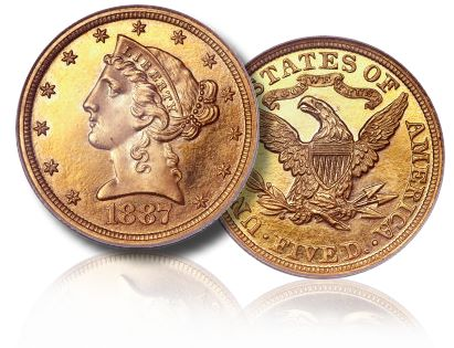1887 pr 5.00 fun2011 Coin Rarities & Related Topics: Fresh & Original Proof Gold Powers Platinum Night Auction