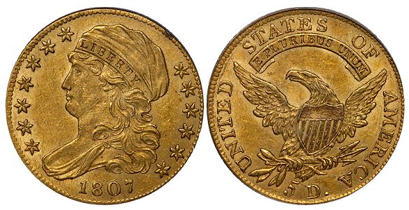 dw 1807 5 What Do Original United States Gold Coins Look Like?
