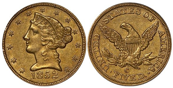 dw 1852C 5 What Do Original United States Gold Coins Look Like?