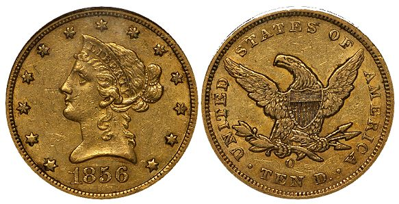 dw 1856 10 What Do Original United States Gold Coins Look Like?
