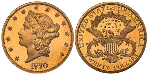 dw 1880 20 pr What Do Original United States Gold Coins Look Like?