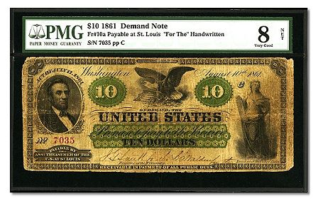 f10a Newly discovered St. Louis $10 Demand Note brings $109,250 in Tampa auction