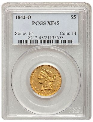 1842 o 5 pcgs45 Coin Rarities & Related Topics: U.S. coins in the $1000 to $5000 range