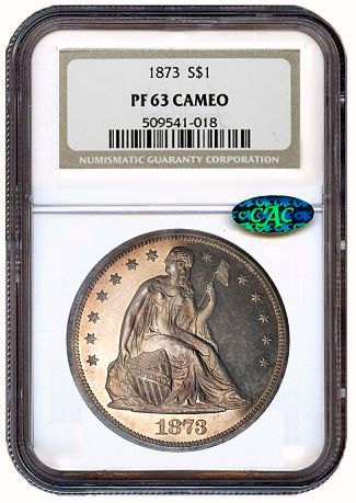 1873 1 ngc pr63 cameo cac Coin Rarities & Related Topics: U.S. coins in the $1000 to $5000 range