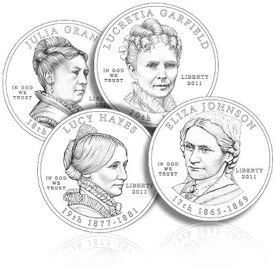 2011 first spouse line US Mint News: 2011 First Spouse Designs, Kennedy Half Dollars and Andrew Johnson Presidential $1 Coin
