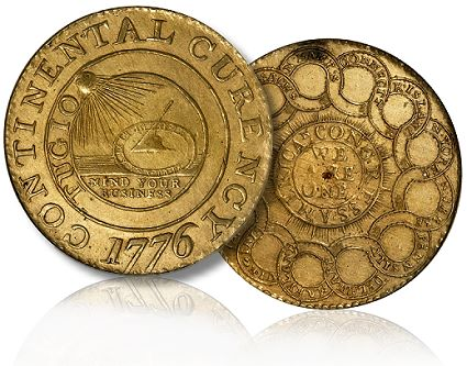 brass continental dollar1 Coin Profiles: 1776 Brass Continental Dollar