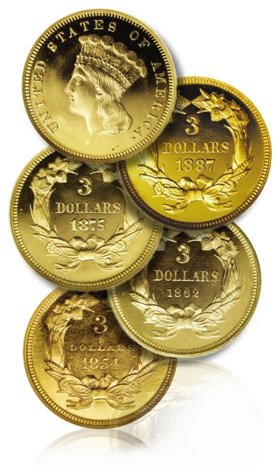 proof three dollar gold PCGS Exhibits First Complete Set of Certified Proof $3 Gold in Sacramento