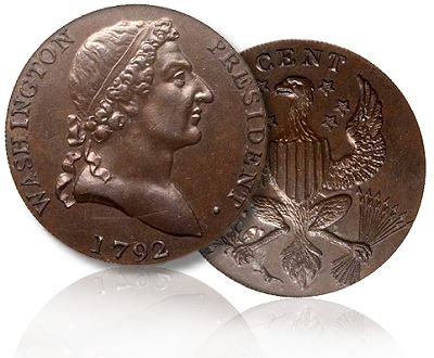 roman head colonial 1792 Coin Profiles: Washington Roman Head Cent