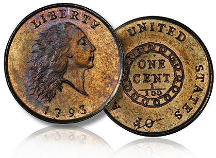 1793 mickley chain cent lg1 The Spectacular Nevada Accumulation and the Morelan Collection of Type Coins