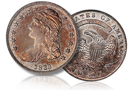 1836 pr bust half stackBowers Coin Profile: Proof 1836 50/00 Capped Bust Half Dollar