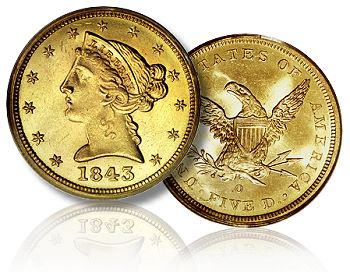 1843 O 5 dw 062209 Liberty Head Half Eagles Gold Coins: A Guide for Collectors