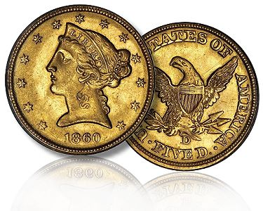 1860 D 5 stacks fan10 sbs Liberty Head Half Eagles Gold Coins: A Guide for Collectors