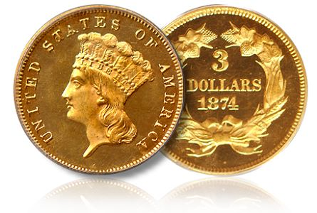 Numismatic Americana Acquires Finest Known 1874 Proof $3 Gold Piece