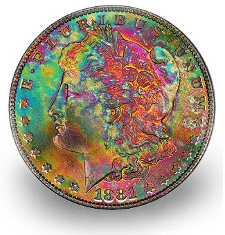 1881 S 1 rainbowtone hacac2011 Coin Rarities & Related Topics: Super Premiums for Common Silver Dollars with Attractive Toning