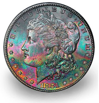 1881 S 1 rainbowtone hacac2011 2 Coin Rarities & Related Topics: Super Premiums for Common Silver Dollars with Attractive Toning