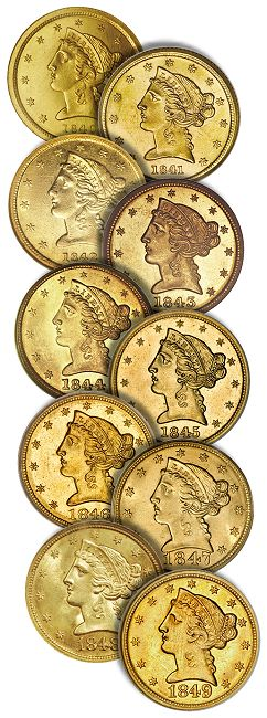 dw 1840s 5 030910 Liberty Head Half Eagles Gold Coins: A Guide for Collectors