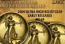 2009 Ultra High Relief gold $20 on the move upward