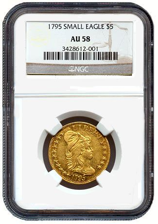 1795 5 sm eagle au58 Is There a Price Relationship Between Gold Bullion and Rare Gold Coins?