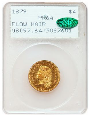 79 flow hair stella csns 2011 Gold rarities, early proof specimens and S.S. Central America sunken treasure highlight Heritage Central States Auctions