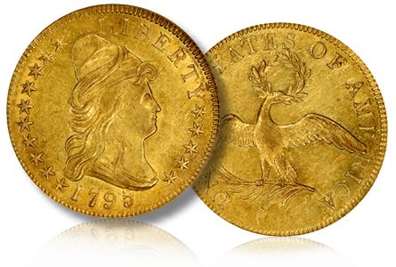 1795 9leaf ms61 spinks The Magnolia Collection of Early U.S. Gold Coins, late 19th century Patterns, Trade Dollars and more!
