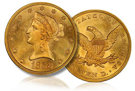 1858 10 hall collection David Halls $10 Lib Gold Coin Collection Sold for $4 Million to Legend Numismatics
