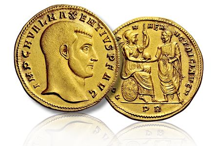 Maxentius medalion The most expensive Roman gold coin ever sold at a public auction.