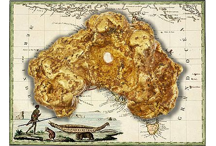 82 oz. Australian Gold Nugget, in the shape of Australia to be sold