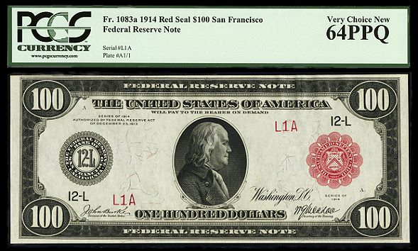 fr1083a Uncirculated Serial Number One SF Red Seals bring $638,250 at CSNS Auction
