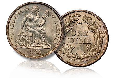 1864 s 10c simpson sb june2011 Coin Rarities & Related Topics: The June 2011 Baltimore Auction, part 1, copper and silver