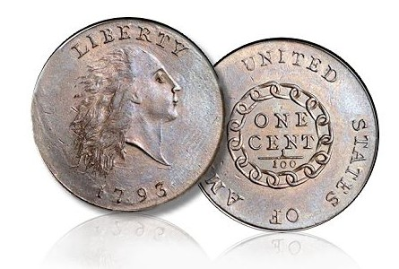 1793 Chain Cent s2 cardinal Multi Million Collection of Cents on Display at Chicago's Worlds Fair of Money