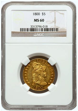 1800 5 ngc60 sum fun Coin Rarities & Related Topics: The Summer FUN Auction, part 2, early gold