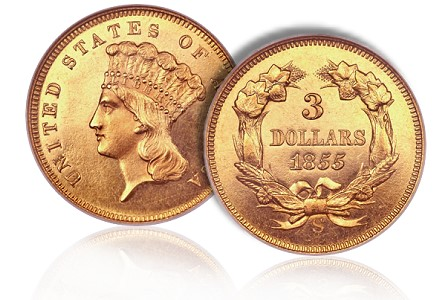 1855 S 3 proof ha chicago2011 1855 S Proof $3 Gold Piece, a supreme rarity, in Heritage Chicago U.S. Coin Auction