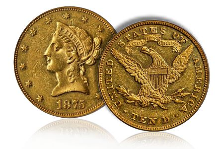 1875 Eagle Gold Coin Stack Bowers Auction
