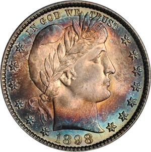 1898 25 gr2 Coin Rarities & Related Topics: The Rarities Night auction, part 2; Dimes, Quarters & Half Dollars