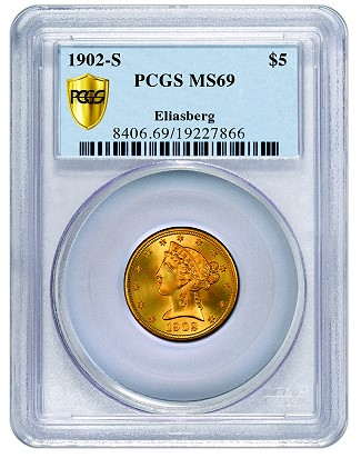 1902-S Half Eagle with motto, graded PCGS Secure Plus MS69