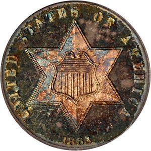 ThreeCent18632Obv Coin Rarities & Related Topics: Rarities Night, part 5; Post Auction Analysis of Silver Coins